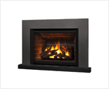 Legend G4 Insert Series shown with 780 Logs, Red Brick Liner, Square Trim Kit in Vintage Iron and Riser Trim in Black