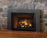 Legend G4 Insert Series shown with Logs, Red Brick Liner and Square Trim Kit in Vintage Iron