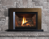 Legend G4 Insert Series shown with Logs, Ledgestone Liner, Floating Trim Kit in Bronze and Riser Trim Kit in Black