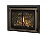 H5 Series shown with Traditional Logs and Edgemont Double Doors in Bronze