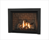 H6 Series shown with Traditional Logs, Red Brick Liner and 3 Sided Trim in Black