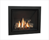 H6 Series shown with Traditional Logs, Fluted Black Liner and 4 Sided Trim in Black