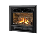 Horizon Series shown with Logs, Traditional Cast Front and 3 Sided Contour Trim in Black