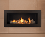 L1 Linear Series with Driftwood, Fluted Black Liner and 3 1/2 Inch Surround in Bronze