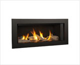 L1 Linear Series with Driftwood, Fluted Black Liner and 3 1/2 Inch Surround in Black