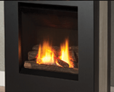 Portrait Lift Freestanding Fireplace shown with Logs