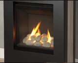 Portrait Lift Freestanding Fireplace shown with Rocks
