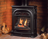 Portrait President Freestanding Fireplace shown with Logs